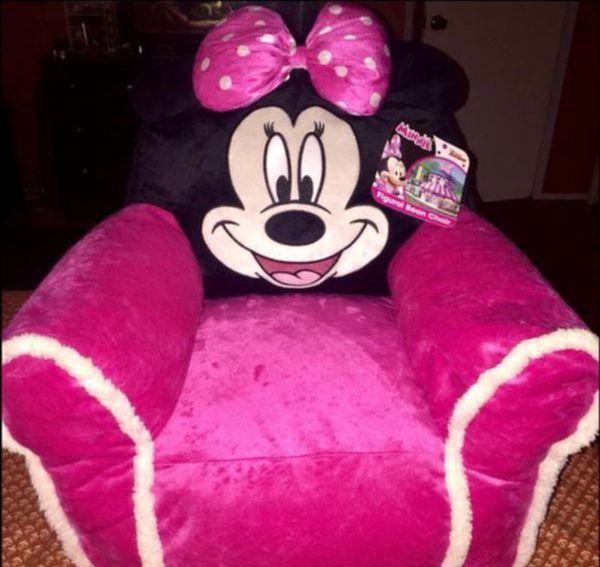 Disney Junior Minnie Mouse Figural Bean Bag Chair For Kids New