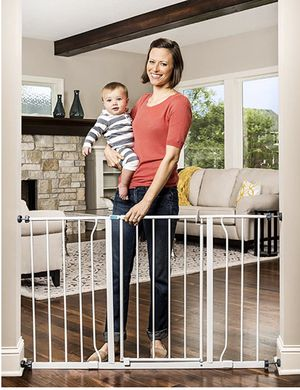 Photo Regalo | Easy Open 47-Inch Super Wide Walk Thru Baby Gate, Bonus Kit, Includes 4-Inch and 12-Inch Extension Kit, 4 Pack Pressure Mount Kit and 4 Wall