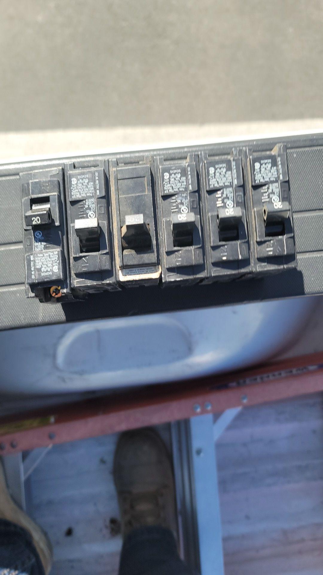 6- 20 amp breakers for seimens qp panel