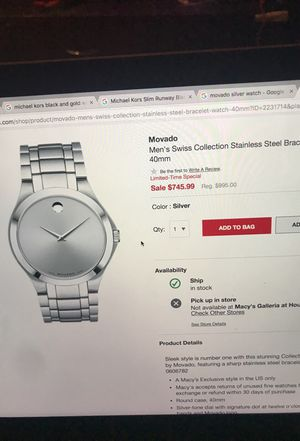 Movado Swiss Collection Silver Watch for Sale in Houston, TX