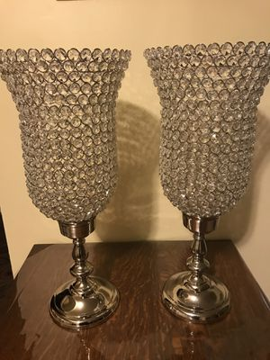 "Set of 2 new 27"" tall large silver crystal candle holder centerpiece click on my profile picture on this page to check out my other listings message for Sale in Gaithersburg, MD"