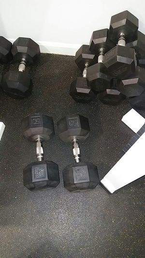 Rubber Coated Hex Dumbell Pairs- from 50lbs up to 70lbs for Sale in Alexandria, VA