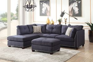 Navy blue dark blue royal blue sofa sectional with free ottoman for Sale in Fort Lauderdale, FL