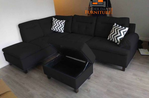 Brand New Black Linen Sectional Sofa Couch + Storage Ottoman for ...