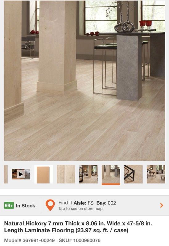 Natural Hickory 7 Mm Thick X 8 06 In Wide 47 5 Length Laminate Flooring For Glendale Az Offerup