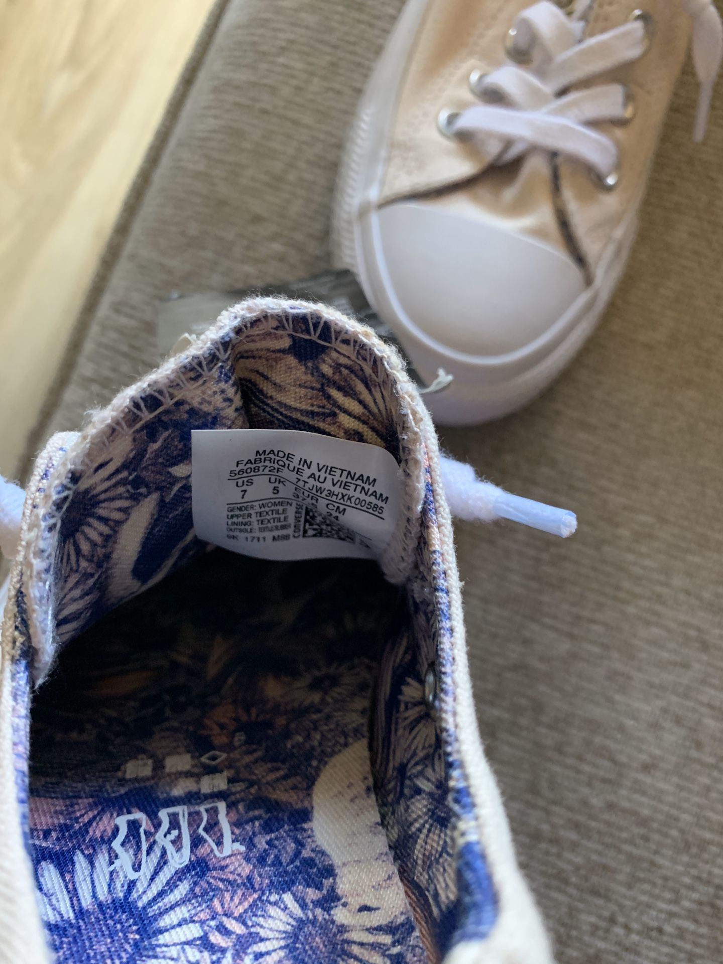 Cream White and Floral Converse