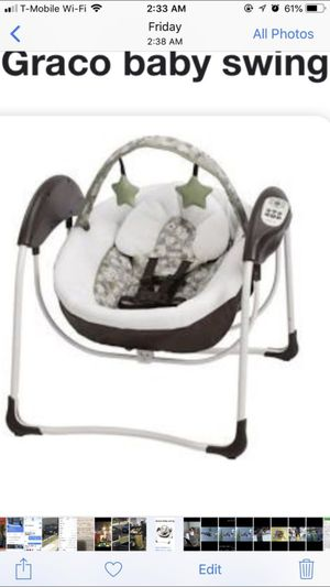 Graco Baby swing new without box, it swings plays music and comes with six Speed's, electric for Sale in Washington, DC
