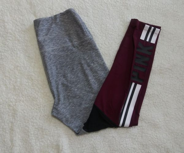 2d0a7431b1cd1 Victoria s Secret PINK Ultimate High Waist Legging Colorblock Deep Ruby  Gray Marl M