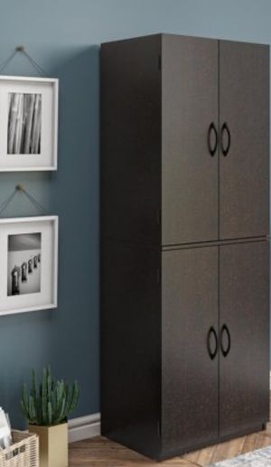 Photo New!! Armoire, cabinet, storage unit, 4 shelves wardrobe, organizer, wardrobe, living room furniture, entrance furniture, espresso