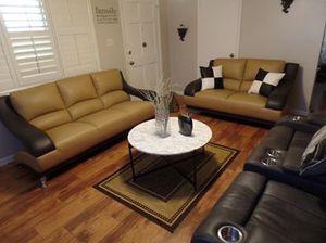Photo 2-Piece Leather Living Room Sofa Set, Two-Tone