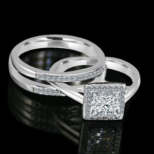 1CT. intensely Radiant Diamond Veneer Princess Cut w/Halo housed in a Double band jacket Simulated Engagement/Wedding Ring. 635R4012 for Sale in San Francisco, CA
