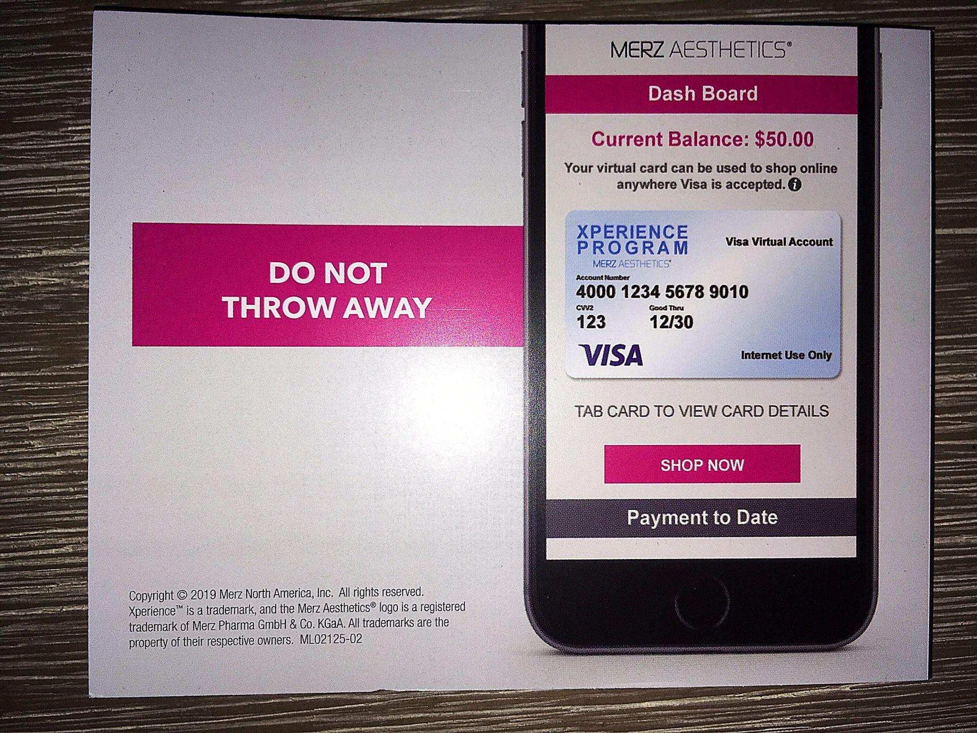 $50 Reward Pin Card - Merz Aesthetics Virtual Xperience Program
