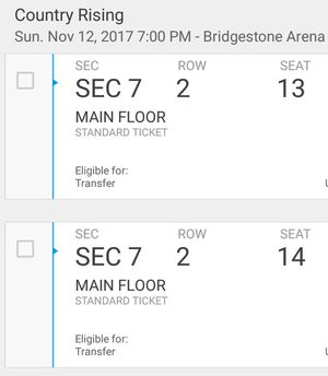 Country Rising main floor seats for Sale in Nashville, TN