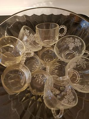Glass punch bowl with glasses for Sale in Springfield, VA