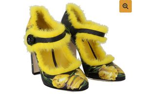 DOLCE & GABBANA BLACK YELLOW LEATHER TULIP MINK FUR PUMPS for Sale in Jessup, MD