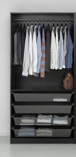 Photo IKEA Pax Wardrobe wood shelves & basket