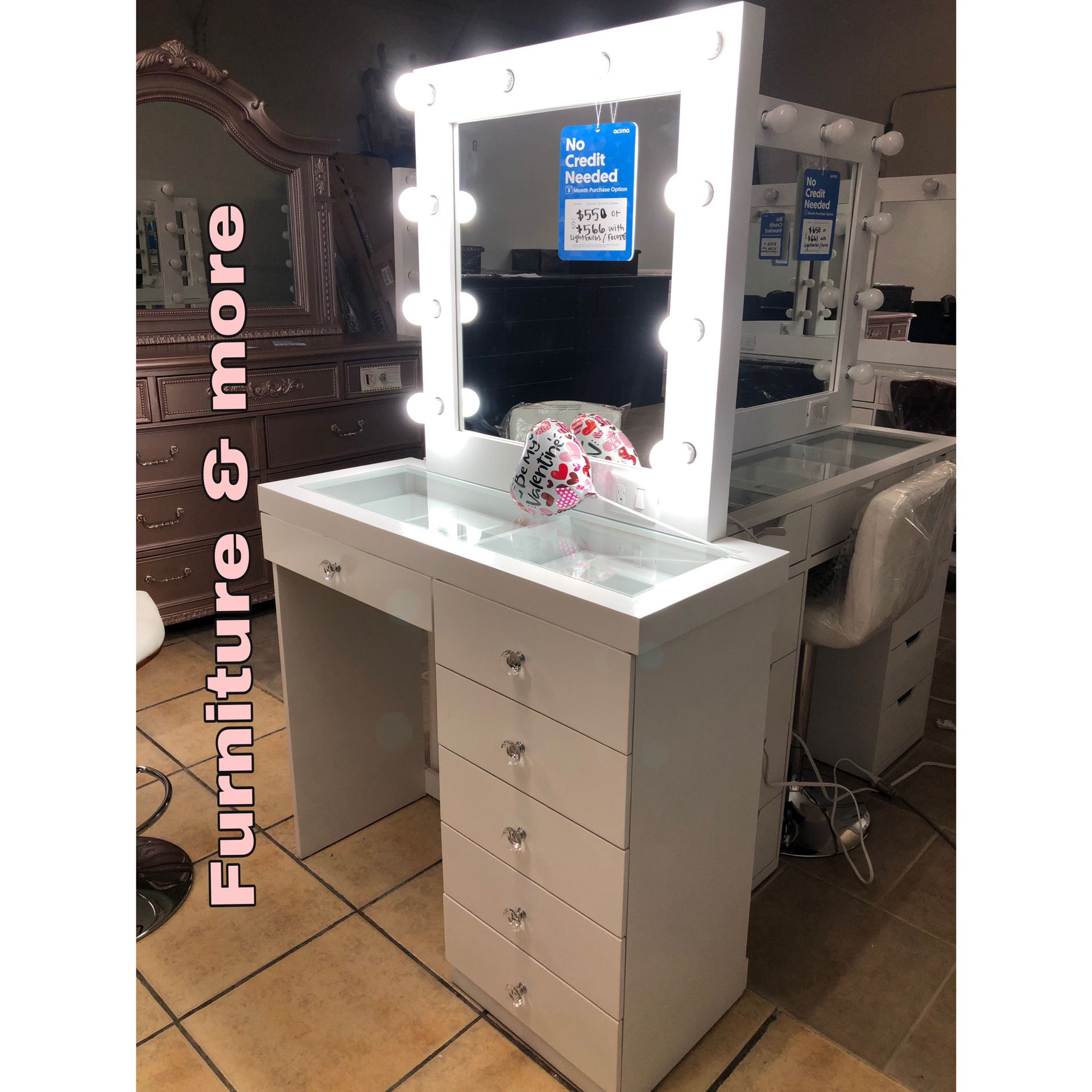 Brand New Vanity 😍👍🏻 Lightbulbs & Chair Sold Separate !! Qualify To Buy Now & Pay Later No credit Needed ☎️