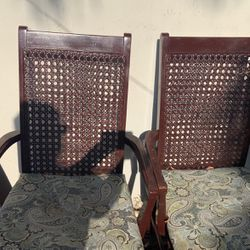 Solid wood, two Arm Cane Chairs From The 70's...chairs need restoring...cane In Good Condition Thumbnail