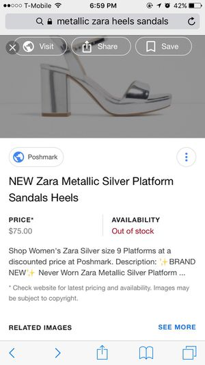 bbc6253dcbf  BRAND NEW  Zara Metallic Silver Platform Sandals Heels for Sale in Long  Beach