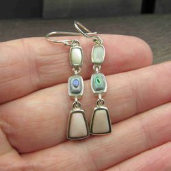Sterling Silver Abalone & Other Shell Earrings Vintage Wedding Engagement Anniversary Beautiful Everyday Minimalist Cute Sexy Thumbnail