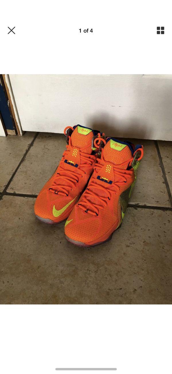6ed29725f93 Nike Lebron XII LBJ 12 SIX MERIDIANS Orange Basketball Shoes SZ 12 ...