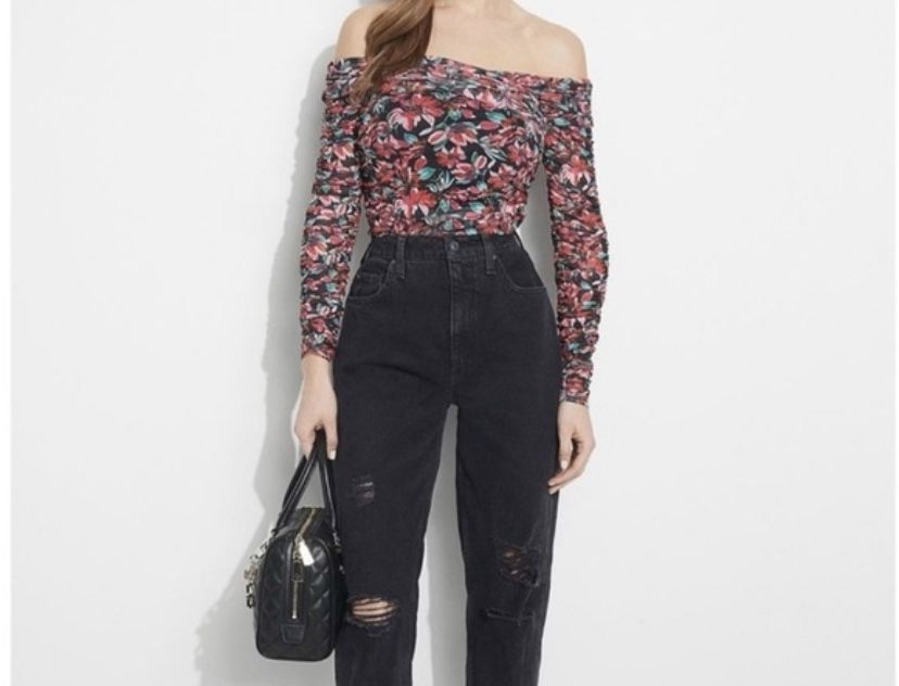 GUESS FLORAL PINK/BLACK COMBO TOP