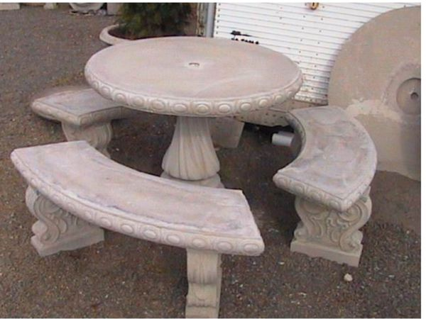 Solid Concrete Patio Set Table Bench Outdoors For In Mesa Az Offerup