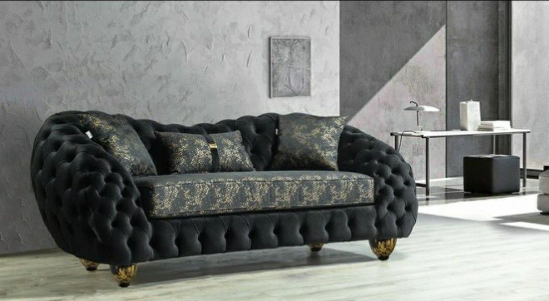 Dalia Black Velvet Sofa & Loveseat 🎸Only 39$ down Payment 🌼No Needed Credit Check 🔥Same Day Delivery👉Anna👈