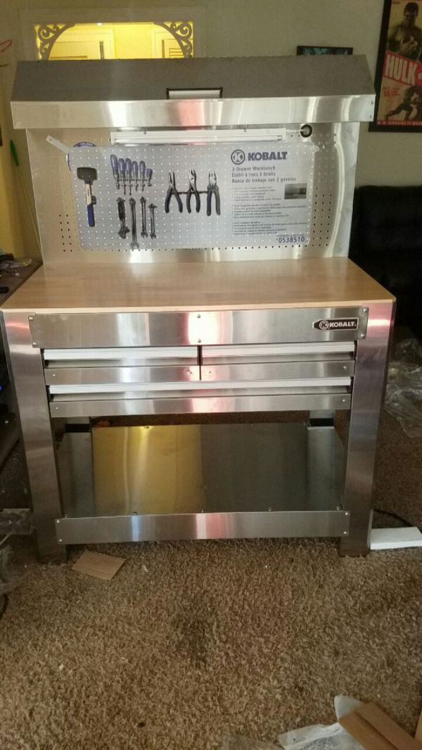 Remarkable Kobalt 46X36 3 Drawer Stainless Steel Work Bench And Tool Spiritservingveterans Wood Chair Design Ideas Spiritservingveteransorg