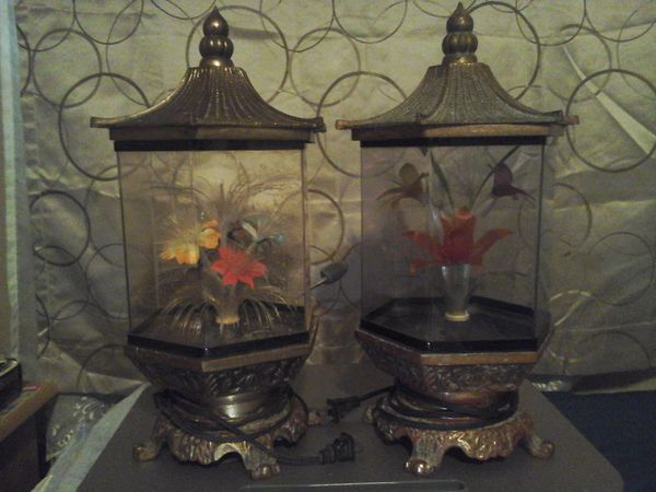 Vintage Oriental Fiber Optic Flower Light Lamps