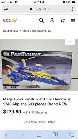 Mega block pro builder blue thunder US Navy F-1 new in box !!!!! Thumbnail