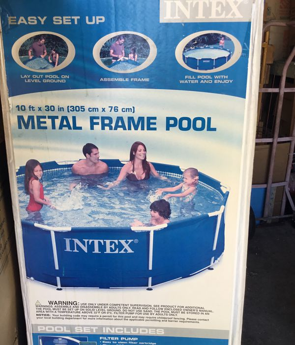 Intex Easy Set Up Metal Frame Pool 10 Ft X 30 Inches Filter Pump And Debris Cover