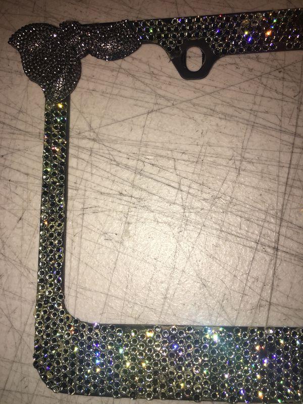 Genuine Swarovski crystal black diamond bling sparkle license plate ...