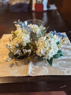 Silk Floral Arrangement with Glass Candle Holder Thumbnail