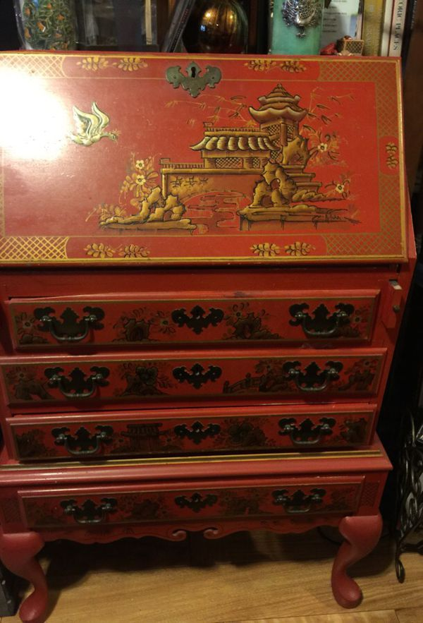 Red Stenciled With Oriental Designs Secretary Desk Inside Top Down And 4 Drawers For In Raleigh Nc Offerup