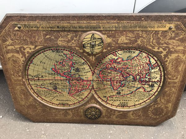A New And Accurate Map Of The World 1628.Vintage Framed 44 X 30 Inches Masketeers 1964 Old World Map Of 1628