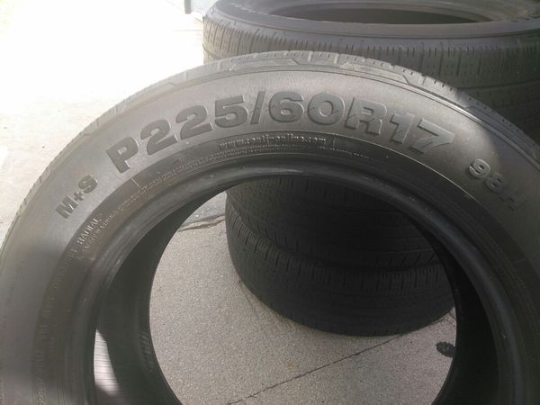 Set Of 225/60R17 Nissan Rogue, Dodge Charger, Chrysler 300 Tires in