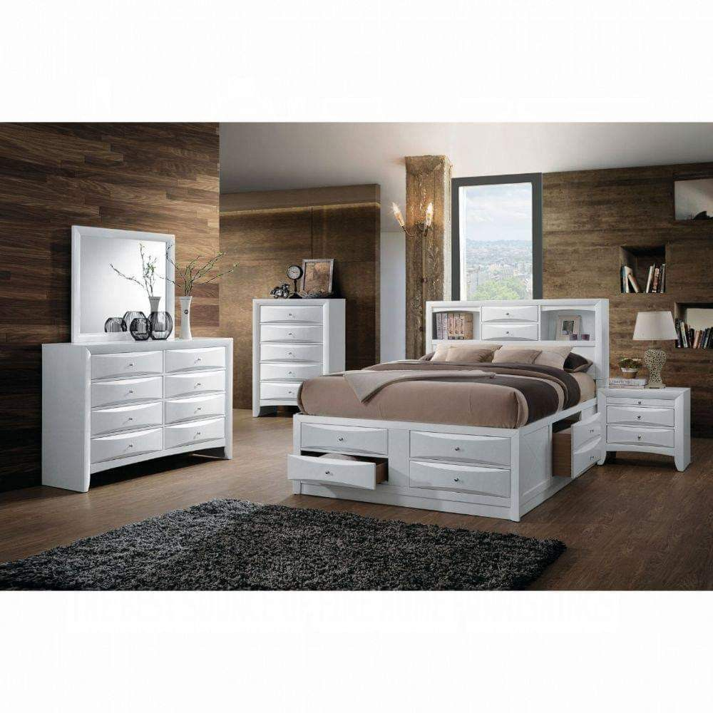 WHITE FINISH QUEEN SIZE STORAGE BED DRAWERS BOOKCASE HEADBOARD