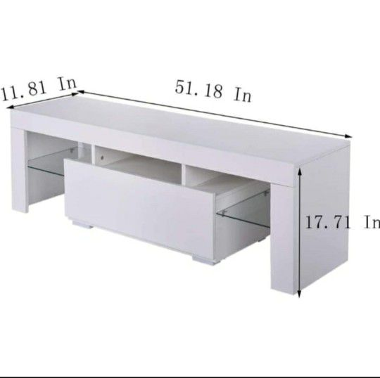 """Brand New 52"""" White TV Stand With LED light - Entertainment Center - TV Cabinet with Storage"""