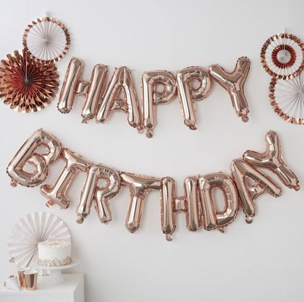 Rose Gold Happy Birthday Balloons For Sale In Naples FL