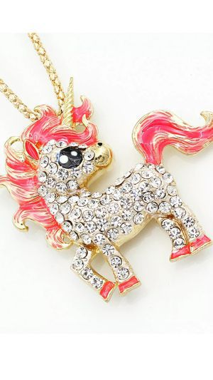 Photo Betsey Johnson 3 D Rhinestone Sweet UNICORN ..so cute 4 '' high on Alloy 18 inch gold chain gift box( I SHIP SAME DAY