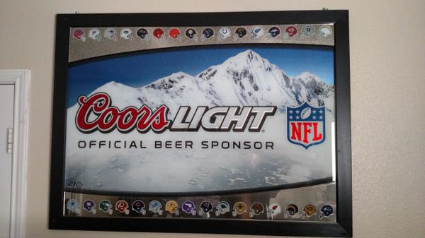 Coors light nfl bar beer mirror very heavy for sale in burleson coors light nfl bar beer mirror very heavy for sale in burleson tx offerup aloadofball Image collections