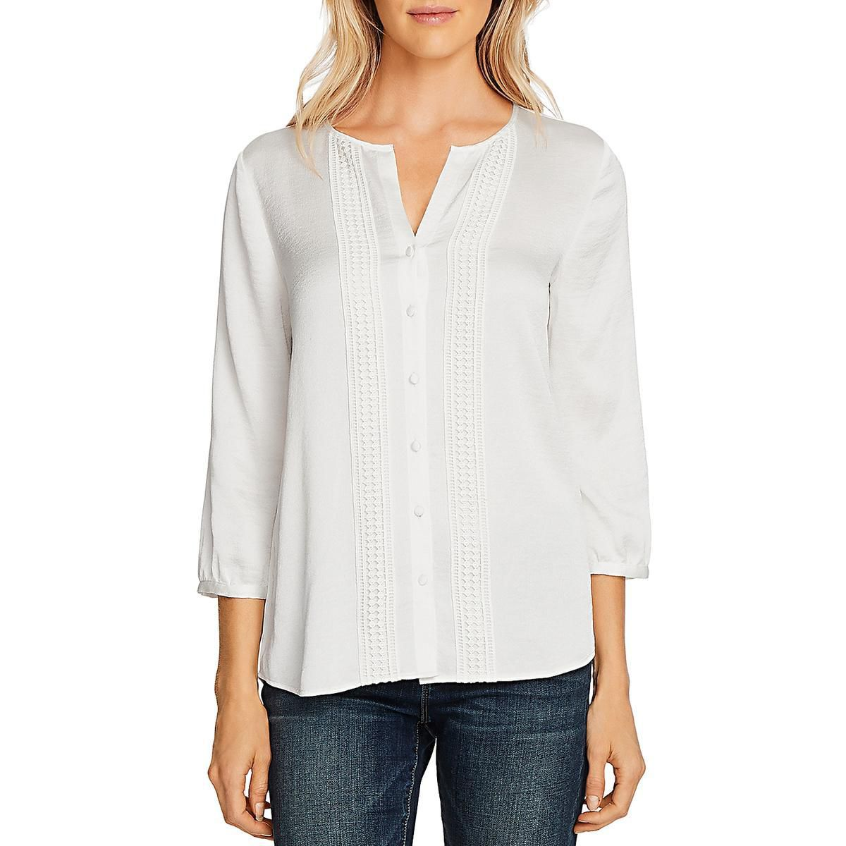 Vince Camuto Womens Button Down Shirt Ivory Size Medium