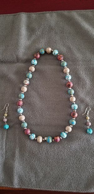 Beautiful handmade Beaded Necklace and earrings. Lightweight, very pretty. Paid $40 recently. Just don't wear. (Located in Gairhersburg) for Sale in Gaithersburg, MD