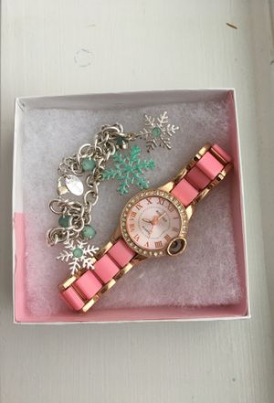 Snowflake Charm Bracelet and Pink Rose Gold Watch for Sale in Lorton, VA