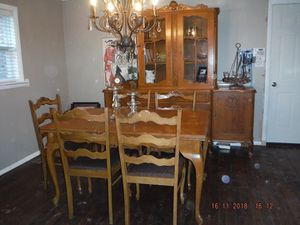 FRENCH dining table, 6 chairs and hutch/buffet for sale  Tulsa, OK