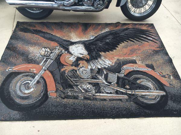 Harley Davidson Rug With Bald Eagle 5x7 For Sale In Spring