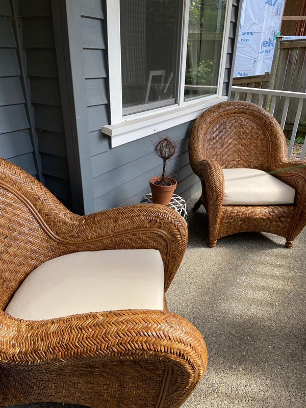 Pottery Barn Malabar Rattan Chairs For Sale For Sale In