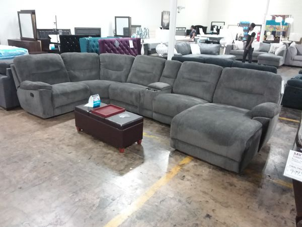 Oversized Plush Grey Reclining Sectional Sofa With Large Chaise