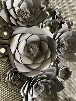 Black Paper Flowers Wedding Baby Shower Birthday Decorations Thumbnail